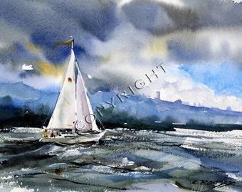 SAILBOAT Sailing Watercolor Print by Dean Crouser