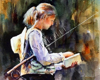 WOMAN FLYFISHING Watercolor Print by Dean Crouser