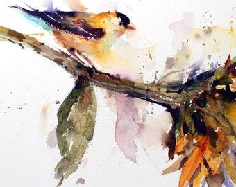 BIRD and SUNFLOWER Ceramic Tile By Dean Crouser