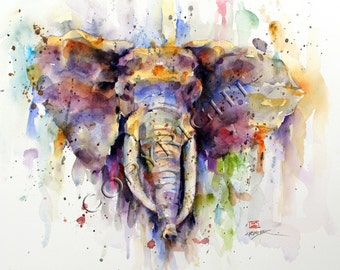 ELEPHANT Watercolor Animal Print by Dean Crouser