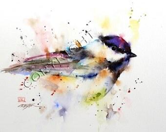 CHICKADEE Watercolor Bird Print, Bird Art Painting by Dean Crouser