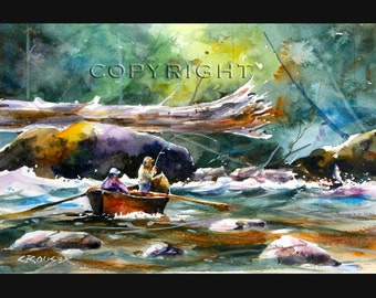 DRIFT BOAT FISHING Print from Original Watercolor by Dean Crouser