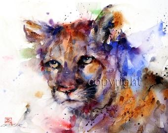 COUGAR Mountain Lion Watercolor Print by Dean Crouser