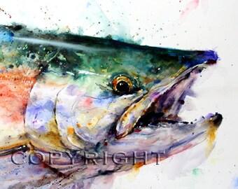 SOCKEYE SALMON Watercolor Print by Dean Crouser