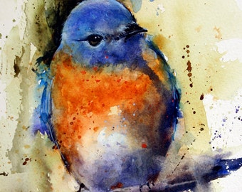 EASTERN BLUEBIRD Watercolor Bird Art Print By Dean Crouser