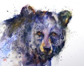 BLACK BEAR Watercolor Art Print by Dean Crouser