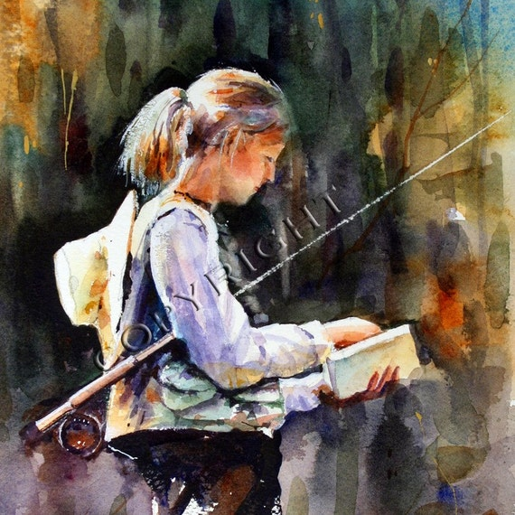 WOMAN FLYFISHING Watercolor Print by Dean Crouser