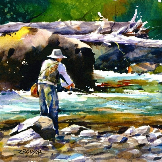 TROUT FISHING Colorful Watercolor Print