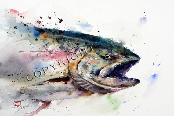 ABSTRACT SALMON Watercolor Fish Art Print By Dean Crouser