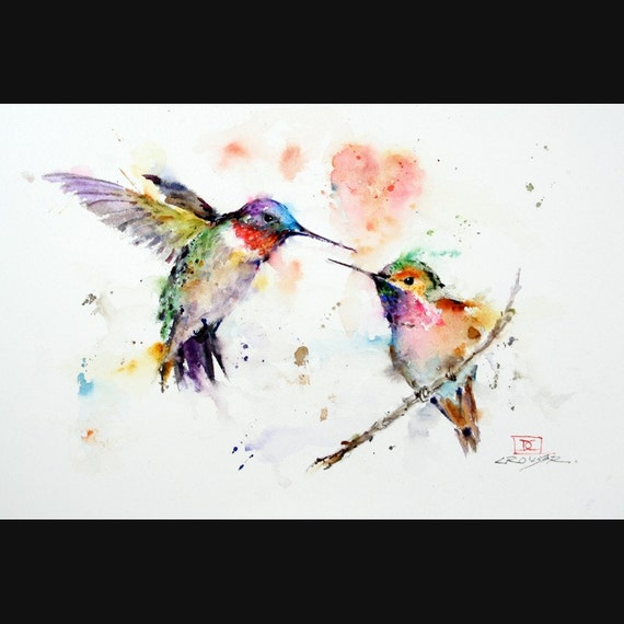 HUMMINGBIRDS Watercolor Bird Print, Hummingbird Painting by Dean Crouser