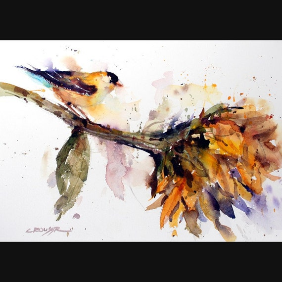 BIRD and SUNFLOWER Watercolor Print by Dean Crouser
