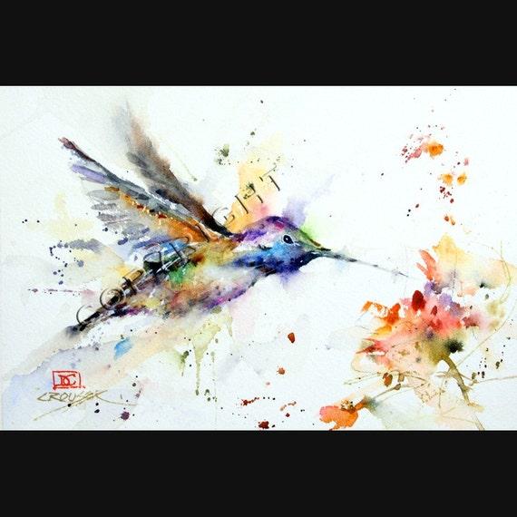 HUMMINGBIRD & FLOWER Abstract Watercolor Print