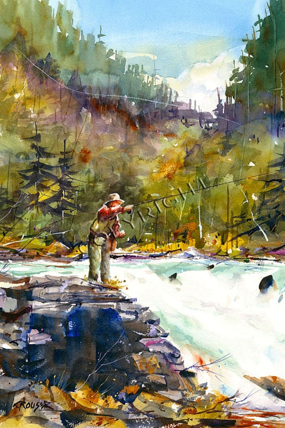FLYFISHING Watercolor Print, Fish Art Painting by Dean Crouser