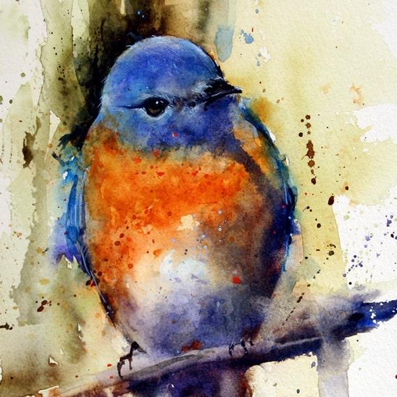 EASTERN BLUEBIRD Watercolor Bird Art Print By Dean Crouser