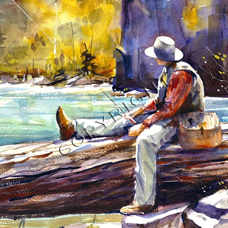 Fly fishing watercolor print for Fly fishing art