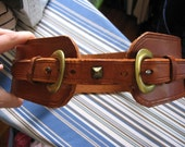 Gorgeous 60s 70s Brown Leather Wide Corset Belt Double Buckle S
