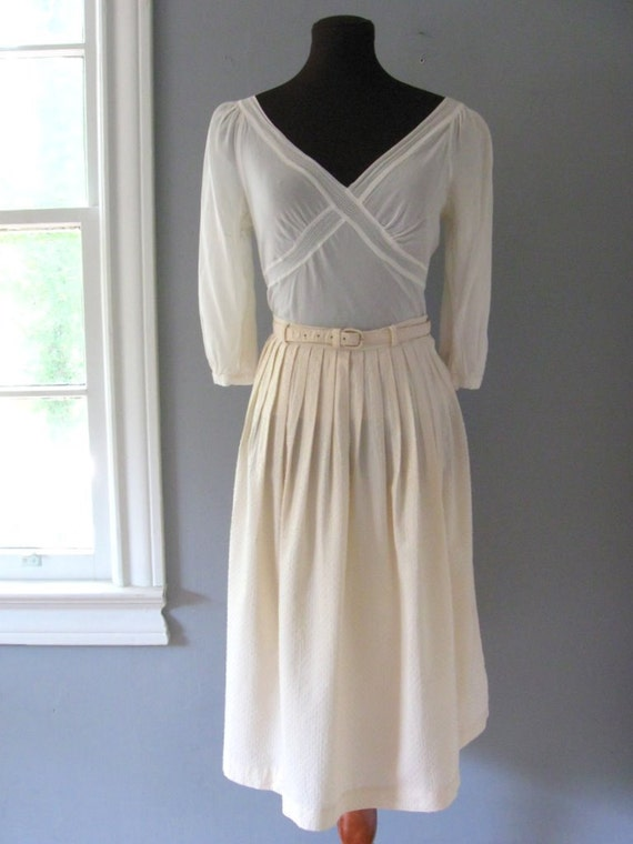 1950s Summery Peachy Cream Vintage Pin-Stripe Polka Dot Full Cotton Skirt S/M