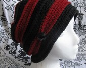 Red and Black Slouchy Hobo Beanie