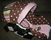 Graco Snugride Brown Pink Polka dot infant car seat cover