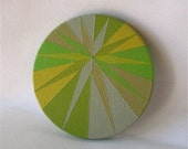 Hand-Painted Green Star Wooden Purse Mirror