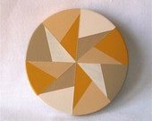 Hand-Painted Ochre & Beige Fan Wooden Purse Mirror