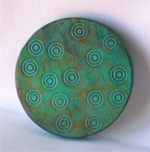 Patina, Green & Copper Wooden Purse Mirror