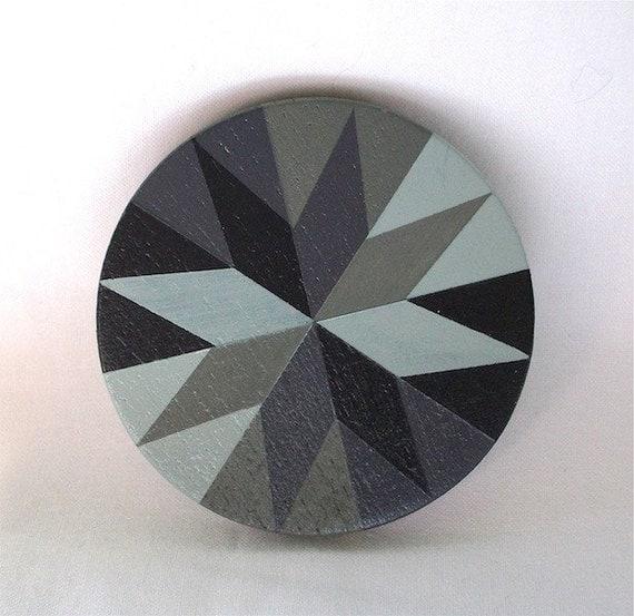 Hand-Painted Black Star Wooden Purse Mirror
