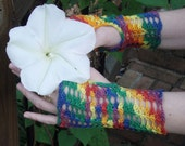 Reserved for LilJammers - Fingerless Crochet Gloves, rainbow chakra, handmade lace, size s/m