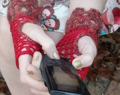 Fingerless Crochet Gloves, cotton net & brick red mohair blend lace w/ vintage pearl buttons