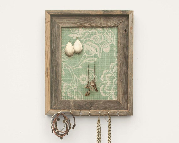 By The Seashore Rustic Jewelry Holder - Mint Green - 8 x 10