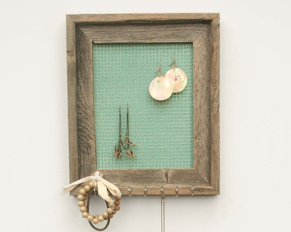 Rustic Seafoam Barnwood Jewelry Holder - Aquamarine - 8 x 10