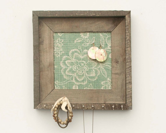 By The Seashore Rustic Jewelry Holder - Mint Green - 8 x 8