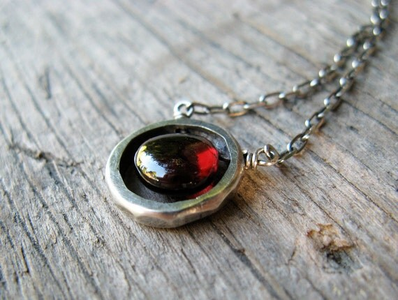 Garnet drop and sterling silver necklace