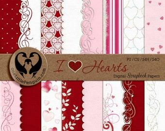 I Love Hearts Digital Valentine Scrapbook Papers, PU CU S4H S4O