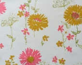 vintage fabric fat quarter - pink and gold gerbers