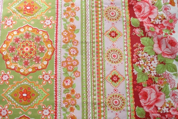 vintage fabric fat quarter - geometric stripes with roses