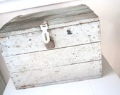 RESERVED just for Brenna Terney--Large Vintage Box- Chippy Shabby Gray Blue Box Trunk With Latch and Lid- Storage Compartment