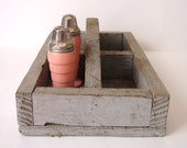 Vintage Divider Box-  Chippy Wooden Gray Box/ Apothecary Box with Handle