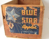 Vintage Fruit Crate-Blue Star Apples Wooden Crate/ Box