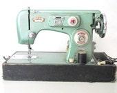 Vintage Sewing Machine- Morse Zig Zag Mint Seafoam Green Metallic Sewing Machine in Case- Display/ Sewing