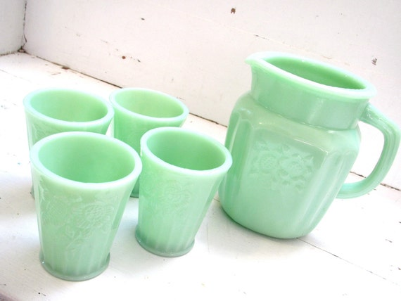 Vintage Jadeite/ Jadite Dishes- Pitcher and Glasses Set- Mint Green and Flowers
