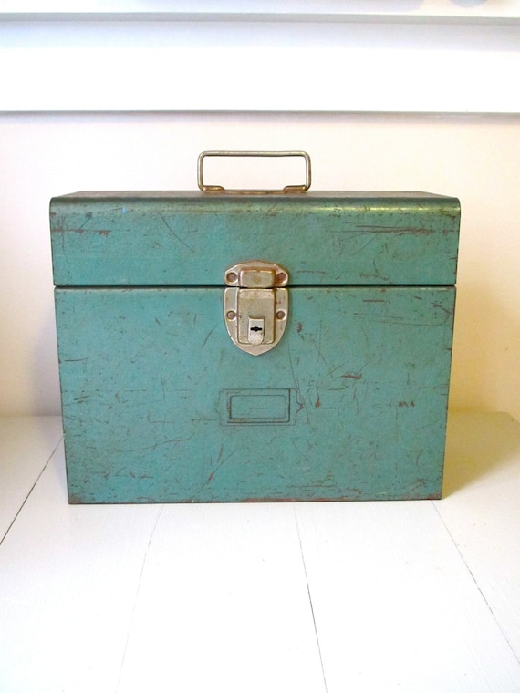 Vintage Metal Box- Industrial Chic Sea Green Rusty Chippy Metal Storage Caddy