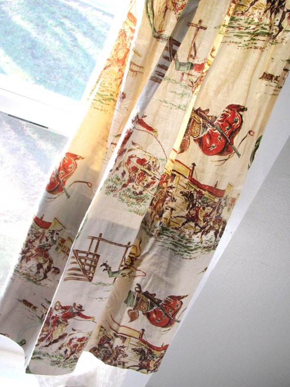 Items Similar To Vintage Cowboy Curtains Set Of Four Two