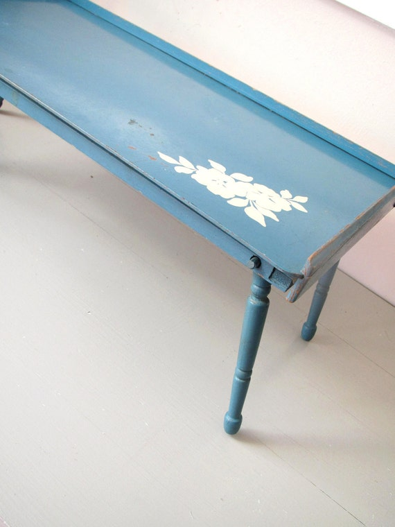 Vintage Art Table- Robins Egg Blue Art Table with White Flowers Chippy Shabby Chic Cottage TV Tray