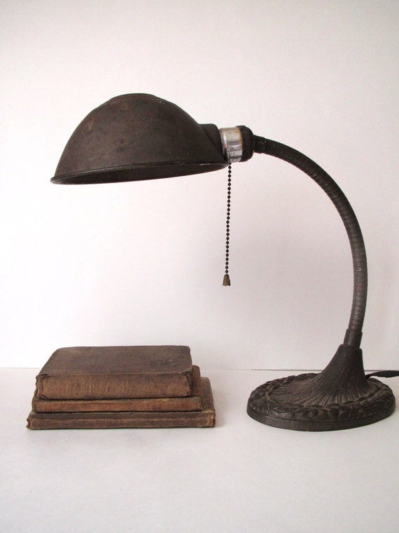 Hold for Yasmin- Antique Cast Iron Gooseneck Desk Lamp- Working