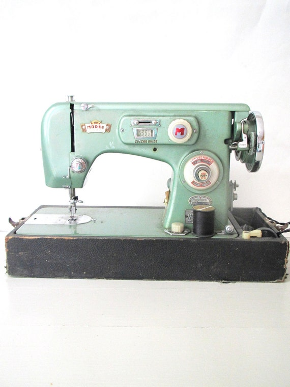 Vintage Sewing Machine- Morse Zig Zag Mint Seafoam Green Metallic Sewing Machine in Case- Display/ Sewing