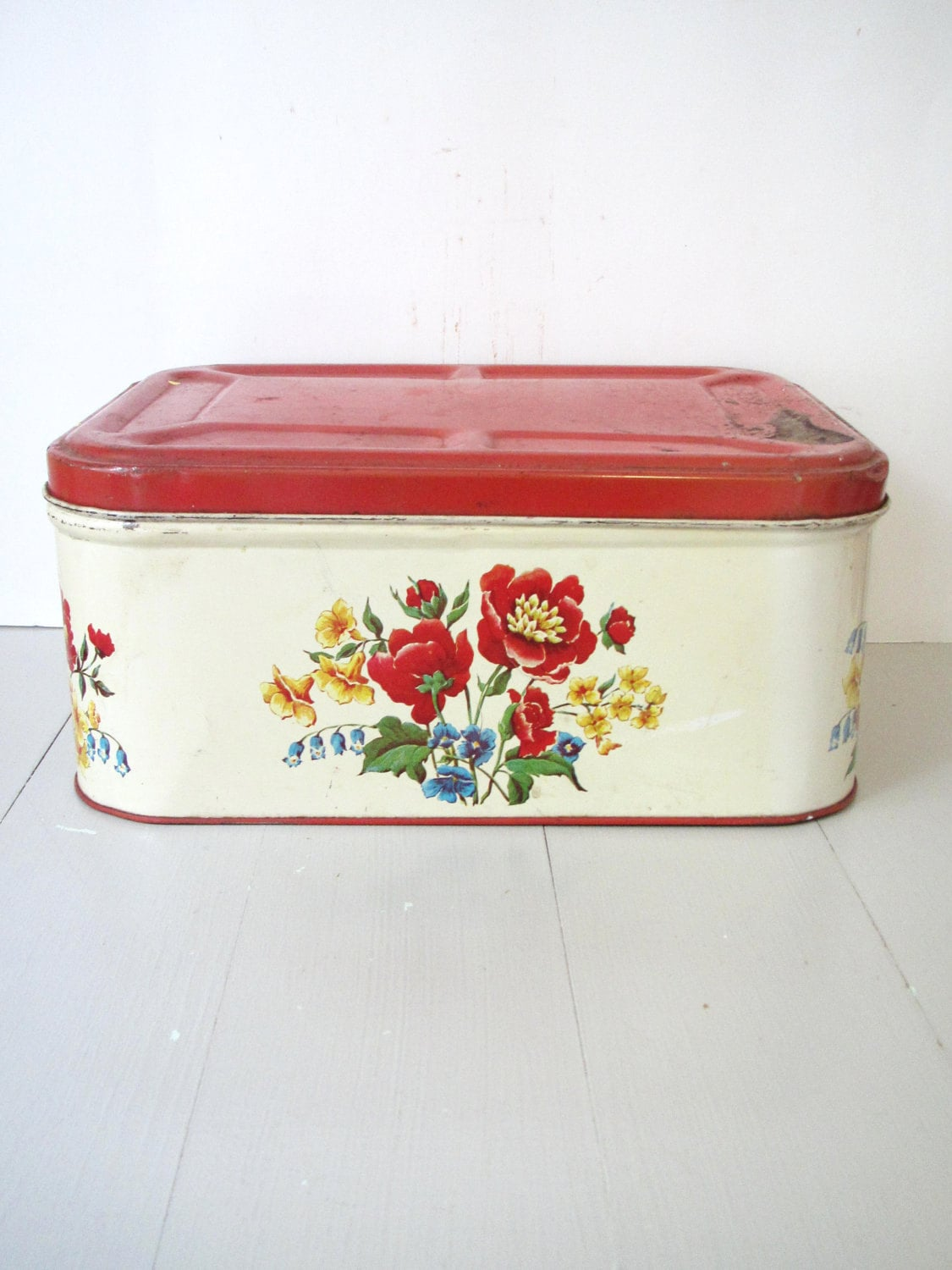 Copper Kitchen Canisters Vintage Bread Box Tin Red And Yellow Floral Breadbox