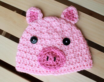 OINK Goes the Pig Crochet Beanie