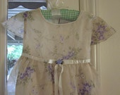 Vintage Pale Green Dress with Purple Flowers