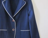 Vintage Navy Blue Blazer with White Trim